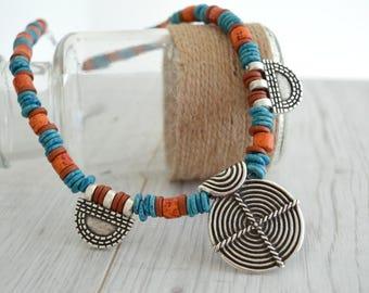 Ancient Greek Meander Symbol & Ceramic Beaded Necklace, Greek Jewelry, Ethnic Greek Ceramic Spiral Jewelry Necklace, Handmade Jewelry