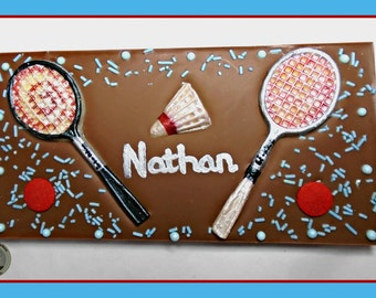 Badminton Chocolate Gift/Badminton Player/Racket/Shuttlecock/Mens Sport/Male Birthday/Womens Badminton/Personalised Gift/Edible Gift/Husband