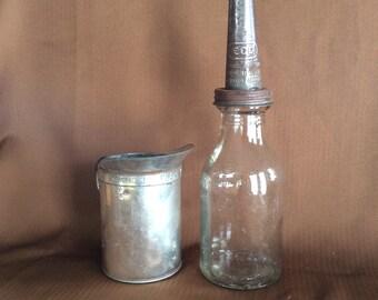 Vintage rare ECO Service Station motor oil bottle jar with metal spout