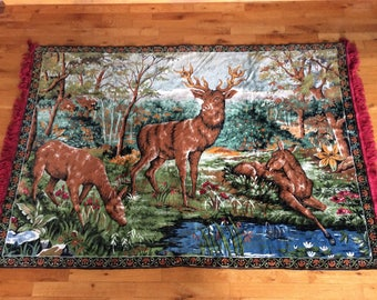 Vintage Country cottage tapestry deer scene near pond hunting cabin carpet or decor