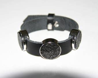 Leather Bracelet with Rhinestone cabochons