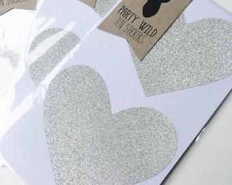 Large Heart Stickers Pk10 - Glitter Silver