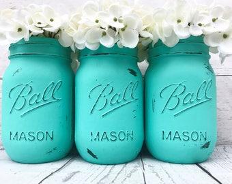 Native Turquoise Mason Jars Distressed Rustic 16oz - Set of 3