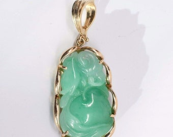 "14K Yellow Gold Carved Jade Pendant ""Happiness, Prosperity and Longeivity"""