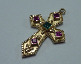 14K Yellow Gold Cross Pendant with Pink and Green Tourmaline