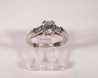 Platinum Diamond Engagement Ring with .93ct. Center Stone , size 6
