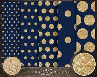50% OFF! Instant Download Navy Gold Digital Paper, 12x12 Printable Navy Gold Glitter Digital Paper, Dark Blue Polka Dot Background 20DPF