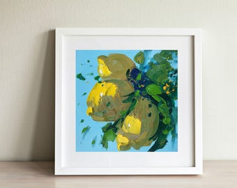 Lemon Painting Small Kitchen Decor Yellow Wall Art Country Home Decor Impressionist Painting Gift for Her Gift for Mom