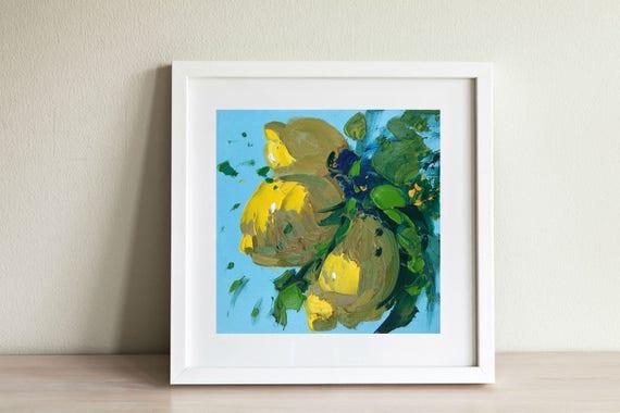Lemon Painting Small Kitchen Decor Yellow Wall Art Country