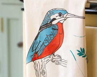 Kingfisher Tea Towel. Original Design, Screen Printed in the UK on 100% cotton - the perfect gift for any kitchen or occasion