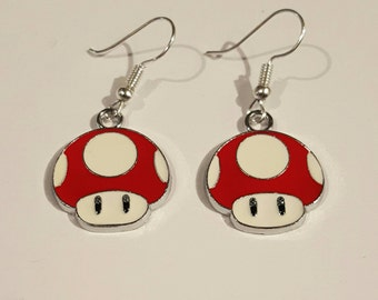 Super Mario Toadstool red earrings