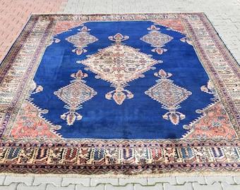 12' x 9' Ottoman Palace Rug 15th Century Model Living Room Indigo Blue Rug Handmade Turkish Oushak Extra Large Oversize Rug Pile Area Carpet