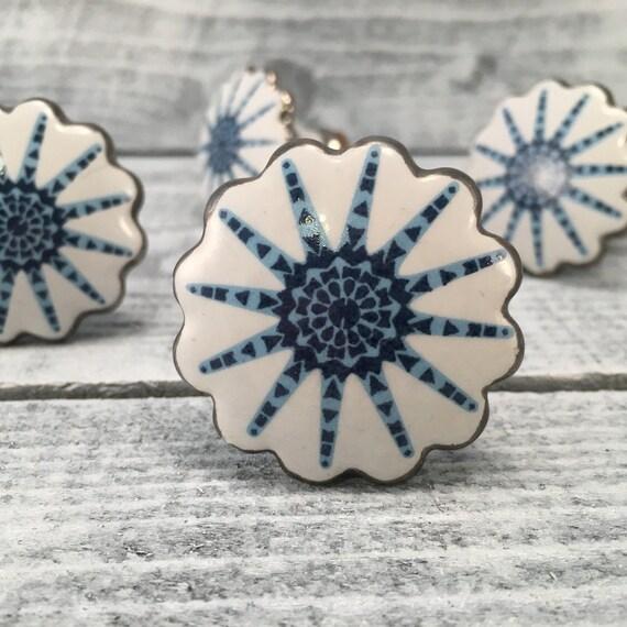 Ceramic Knobs Beach Inspired Blue Amp White Knob For