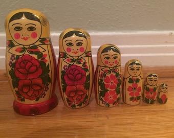 Vintage Russian Matryoshka Painted Wood Stacking Dolls