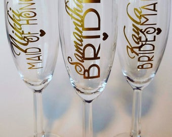 Wedding Party Champagne Glasses, Bridesmaid ~ Maid of Honor ~ Matron of Honor Gifts ~ Champagne Toast, Wedding Champagne Flutes, Personalize