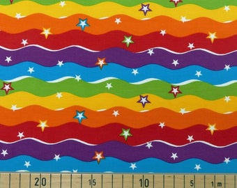 Beautiful Rainbow waves Cotton Jersey, one unit is 0.5m