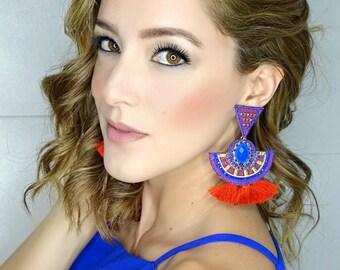 Long Tribal Earrings, Bohemian Earrings, Wholesale Earrings, Big Tassel Earrings, Tassel Jewelry, Chandelier Earrings,Red Earrings,Boho-Chic
