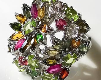 A Magnificent Tourmaline Peridot Ring Size 7 Sterling Silver