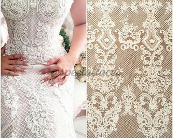 Elegent fashion wedding lace fabric tulle lace guipure lace fabric embroidery lace for wedding dress