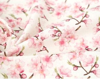"Cherry Blossoms Flower Sakura patterned Fabric made in Korea by Half Yard / 45 X 150cm 18"" X 57.5"", Cotton Linen"