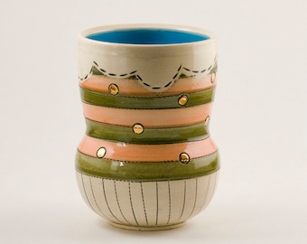 Handmade ceramic cup, Wheel thrown pottery, Stoneware pottery cup with stripes and gold luster, Yunomi, Wine cup, Handless mug, Striped mug