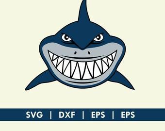 Shark Face Smile Finding Nemo Bruce SVG DXF Silhouette Cameo Cricut Cut File