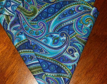Blue,purple and green pocket square