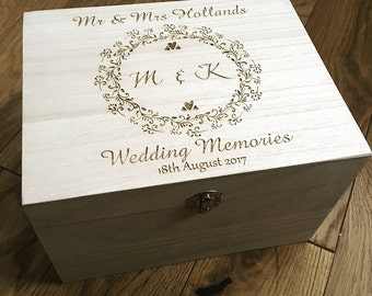 Wedding memory box, keepsake box, wedding gift, wedding memories, memories box, laser engraved box