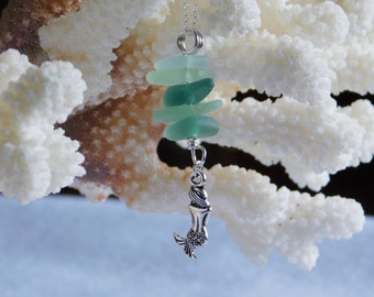 Seaglass .925 Sterling Chain Necklace Stacked with a Mermaid Accent