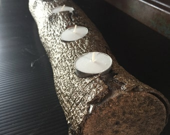 Rustic Log Tea Light Candle Holder