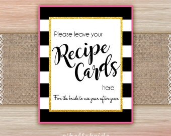 Please Leave Your Recipe Cards Sign Black and White Pink Gold - Printable Black and White Pink Gold Table Signs - Bridal Recipe Card 014