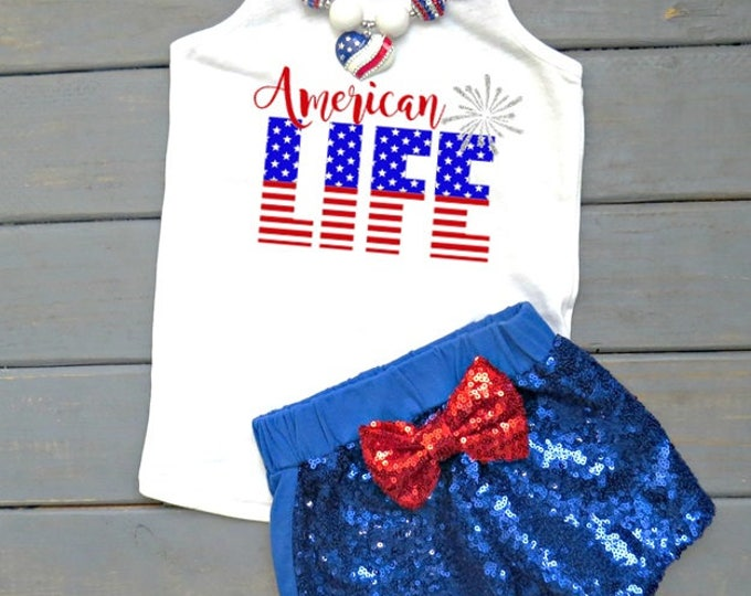 American Life Outfit, Girls' Fourth of July Outfit, American Girl Tank, Independence Day Outfit, 4th of July Outfit, Baby's First 4th