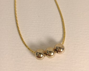 Gold ball necklace | Simple gold necklace | 3 gold ball necklace | FREE SHIPPING in US