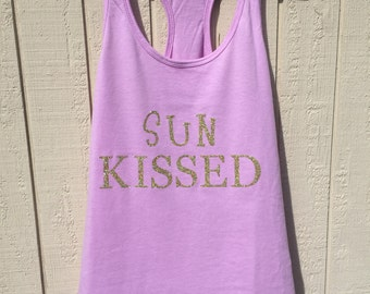 Gold glitter Sun Kissed beach tank/vacation tank/girls weekend tank/beach tank/glitter beach tank/summer tank