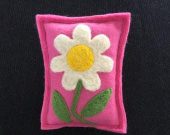 Hand Needle Felted Flower Maine Balsam Pine/Fir Sachet/Pillow