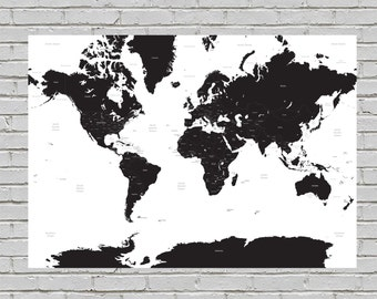 White & Black A1 Minimalist Travelling Map of the World Print Wall Art Home Decor High Quality Poster