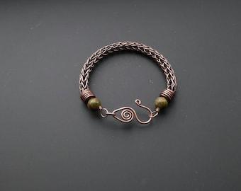 Copper bracelet, wire jewelry, copper jewelry, unakite jewellery, viking knit, knit jewelry, viking knit bracelet, gift for her, copper wire