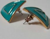 Vintage Jewellery, Triangle 1980s Vintage Earrings, Teal & Gold