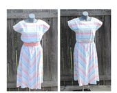 Vintage Stripe Dress, Cap Sleeve, Liberated Lady California, Multi Color Stripes, Day Dress, Spring / Summer Fashion, Vintage Size 18