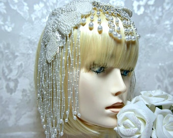 GATSBY HEADPIECE, Art Deco Headpiece, 1920s roaring 20s Flapper white beaded headpiece gatsby wedding, great gatsby accessories, dress party