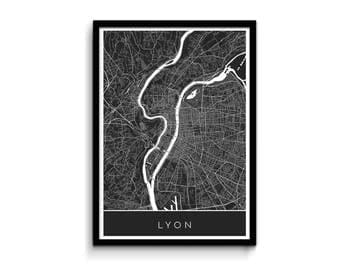 Lyon map - Modern, detailed and original - Professional printing and fast FREE shipping