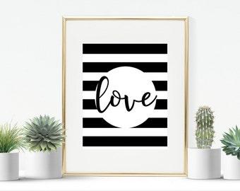 love monochrome print  instant download printable room wall art Christmas gift birthday girlfriend wife gift home wall art