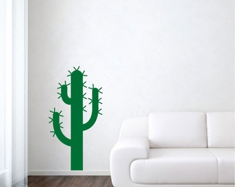 Cactus wall decal plant desert nature vinyl sticker wall art mural available in 7 different sizes and 30 different colors