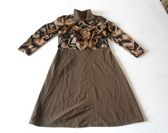 Brown Polyester / Cotton Blend 70's Dress
