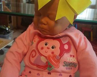 Neon yellow bow headband