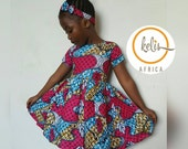 Children African Print Dress with Hairband  African Print Girls Dress  Toddler Dress  Ankara Girls Dress