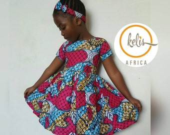 Children African Print Dress with Hairband / African Print Girls Dress / Toddler Dress/  Ankara Girls Dress