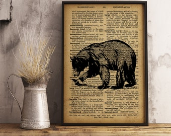 Animal Poster Bear Dictionary Art Print, Bear illustration wall art hunter gift idea, Bear Print, Animal Art Poster Cabin Decor (A08)