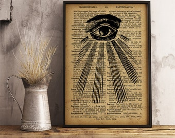 All seeing eye print  Occult poster, Eye of Providence art print, Divine providence print mystic symbol illuminati  eye poster (AL09)