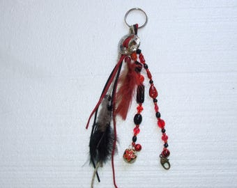 Red & Black beads and Feathers Keychain With Bells